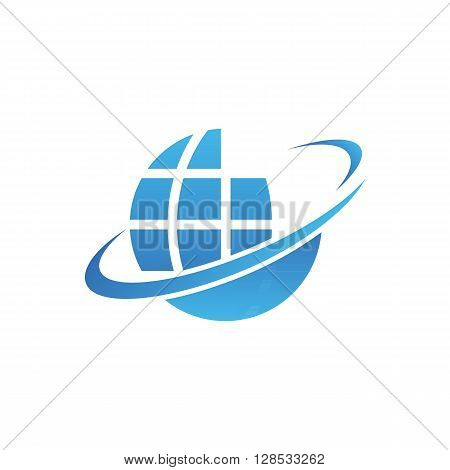 Blue planet vector icon on the vector background.