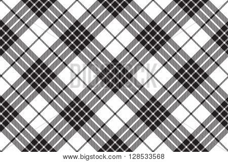 clan cameron tartan diagonal black white seamless pattern .Vector illustration. EPS 10. No transparency. No gradients.