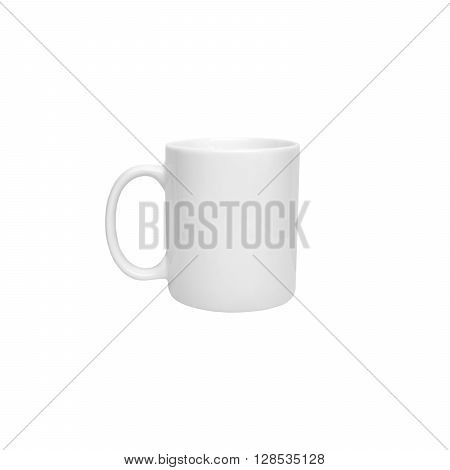White cylindrical cup for hot beverages isolated on white