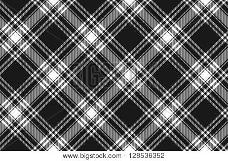 Menzies tartan black kilt diagonal fabric texture seamless pattern .Vector illustration. EPS 10. No transparency. No gradients.