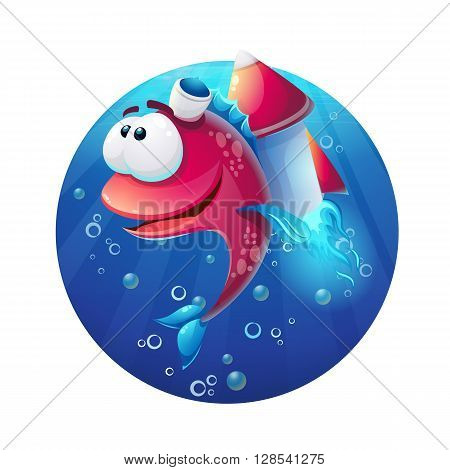Underwater cartoon funny fish with rocket. For video or web games graphic design printing magazines.