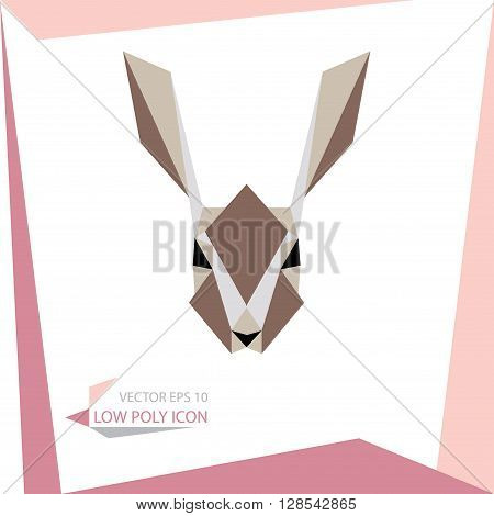 low poly animal icon. vector rabbit
