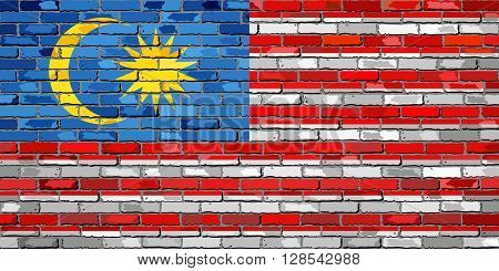 Flag of Malaysia on a brick wall - Illustration,  Malaysian flag on brick textured background,  Flag of Malaysia painted on brick wall,  Flag of Malaysia in brick style