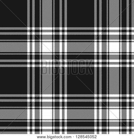 Menzies tartan black kilt skirt fabric texture seamless pattern.Vector illustration. EPS 10. No transparency. No gradients.