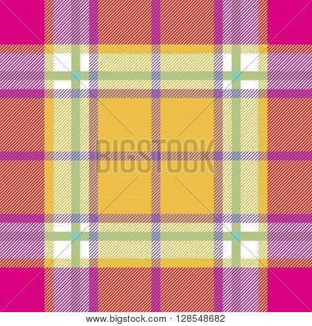 yellow pink indian madras fabric texture seamless pattern. Vector illustration. EPS 10. No transparency. No gradients.