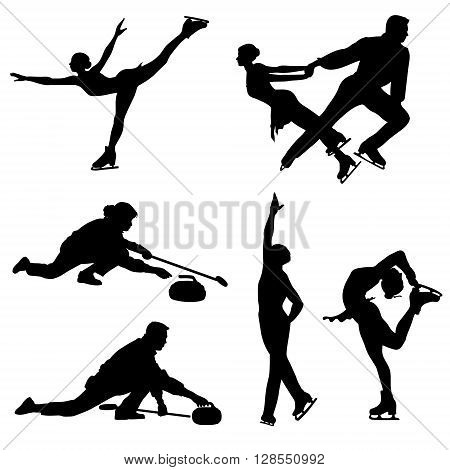 Black icon set of ice figure skaters and curlers, vector.