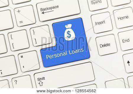 White Conceptual Keyboard - Personal Loans (blue Key)