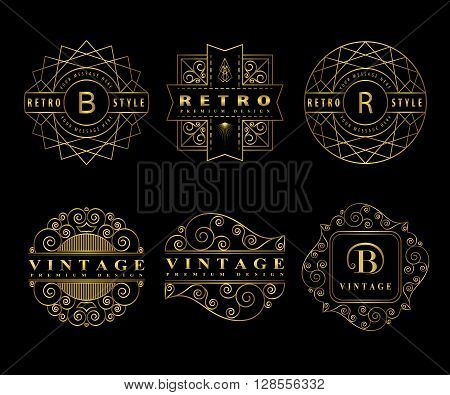 Vector illustration of Monogram design elements graceful template. Calligraphic elegant line art logo design. Gold Letter emblem sign B R for Royalty business card Boutique Hotel Restaurant Cafe