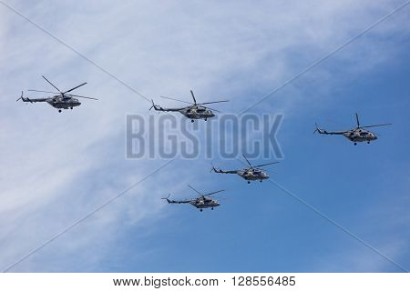 Mi-26 (halo) Helicopters Fly On Military Parade Devoted To 70Th Anniversary Of Victory Day In Wwii