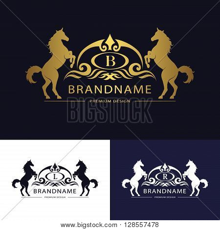 Vector illustration of Monogram logo emblem template with horse. Graceful Luxury design. Calligraphic letter B L R Business sign for hotel restaurant boutique invitation jewellery royalty brand poster