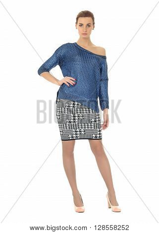 Full-length portrait young woman in skirt isolated