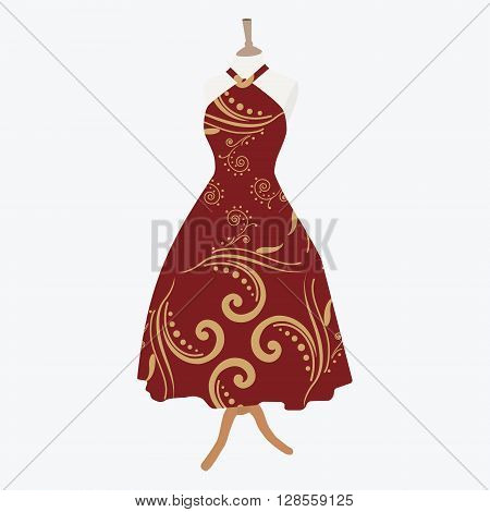 Vector illustration elegant cocktail evening woman dresses on mannequin for boutique. Red bordo dress with seamless pattern