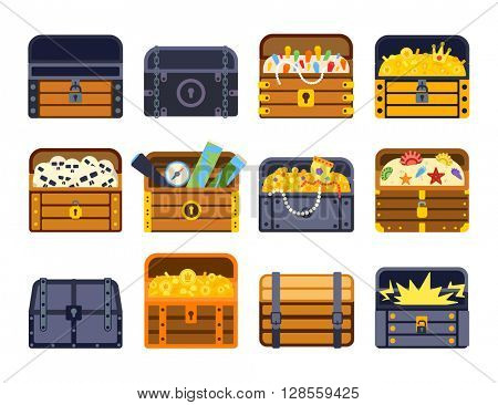 Treasure chest vector illustration.