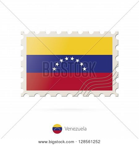 Postage Stamp With The Image Of Venezuela Flag.