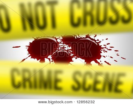 Focus on blood drops for a crime scene poster