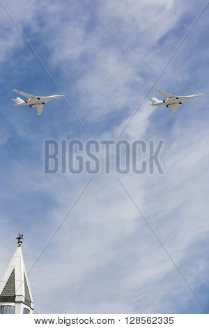 Supersonic Strategic Bombers Tu-160 (white Swan) At Military Parade Devoted To 70Th Anniversary Of V