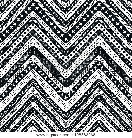 Vector tribal aztec hand drawn seamless pattern. Ethnic tribal borders. Tribal elements isolated. Boho folk navajo frames. Tribal design poster