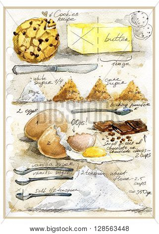 Cookies Cookies Recipe. Cookies Cookies watercolor illustration