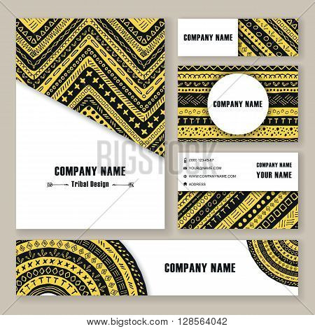 Vector tribal aztec banners. Ethnic tribal borders. Tribal cards isolated. Boho folk navajo frames. Tribal design. Geometric tribal background.Yellow and black