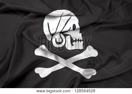 Waving Henry Every Pirate Flag, with beautiful satin background. poster