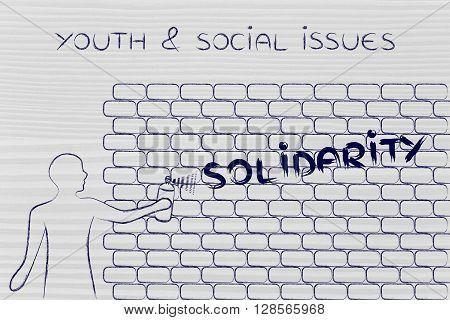 Man Writing Solidarity As Wall Graffiti, Youth & Social Issues