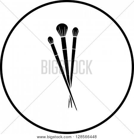 makeup application brushes symbol