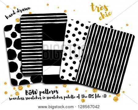 Trendy Black and White Patterns - Set of trendy hand drawn black and white patterns, including polka dots and stripes, on gold-sprinkled white background
