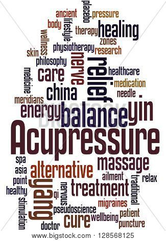 Acupressure word cloud concept on white background. poster