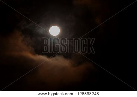 Moonlight Blood Moon On The Dark Cloudy Sky Full Of Stars