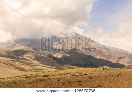 Chimborazo Volcano Is A Currently Inactive Strato Volcano In The Cordillera Occidental Range Of The Andes