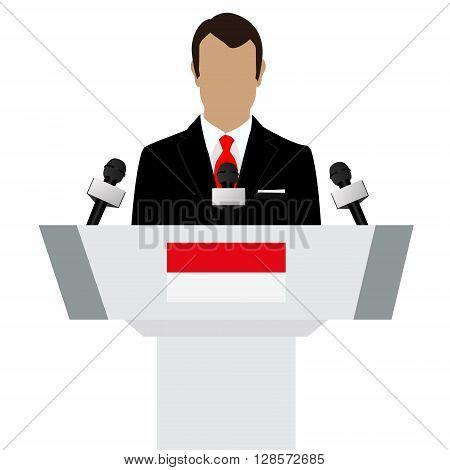 Vector illustration presentation conference concept. Speaker man in suit speaking from tribune. Indonesia Indonesian flag on podium tribune