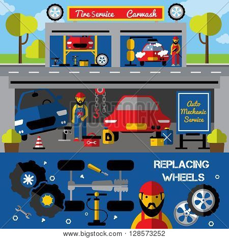 Auto centers and carwash horizontal banners with tire service and mechanical works replacing wheels isolated vector illustration
