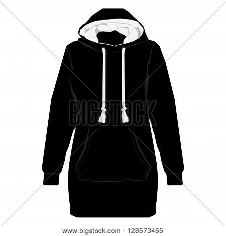 Vector illustration black unisex sport jacket with long sleeves pocket and hood. Hoodie shirt template