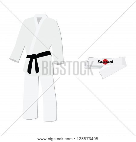 Vector illustration hachimaki national japanese headband with japan flag. Samurai bandana. White training kimono with black belt karate sport