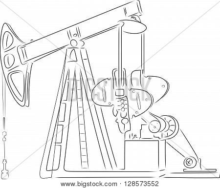 Hand-drawn outline of oil derrick isolated on white background. Art vector illustration for your design.