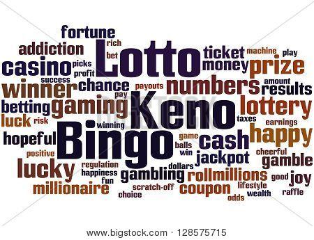 Lotto Bingo Keno, Word Cloud Concept 6