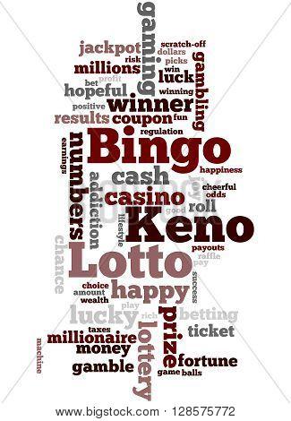 Lotto Bingo Keno, Word Cloud Concept 8