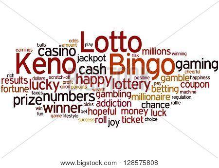 Lotto Bingo Keno, Word Cloud Concept 9
