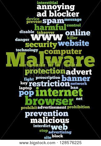 Malware, Word Cloud Concept 8