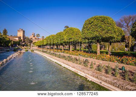 Gardens at the Alcazar de los Reyes Cristianos in Cordoba Spain