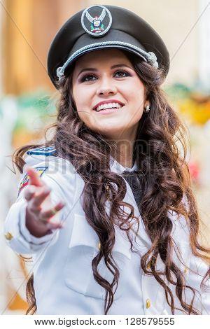 Banos De Agua Santa - 29 November, 2014: Young Woman Wearing Proud The Uniform Of Navy South America In Banos De Agua Santa On November 29, 2014
