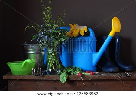 Garden tools: watering scratchy bucket rubber boots and gloves on the table. Work in the garden the beginning of the season. Still life spring bouquet radish and garden equipment.