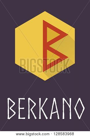 Berkano rune of Elder Futhark in trend flat style. Old Norse Scandinavian rune. Germanic letter. Vector illustration.