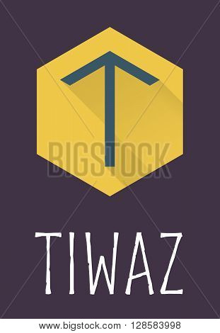 Tiwaz rune of Elder Futhark in trend flat style. Old Norse Scandinavian rune. Germanic letter. Vector illustration.