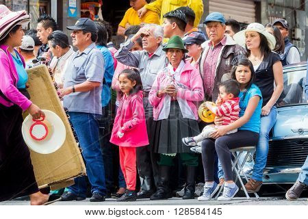 Banos De Agua Santa - 29 November, 2014: Group Of Latin People Waiting To Begin Annual Carnival On The Streets Of Banos De Agua Santa, Ecuador, South America In Banos De Agua Santa On November, 29 2014