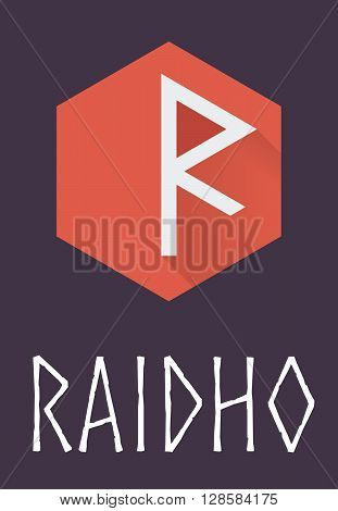 Raidho rune of Elder Futhark in trend flat style. Old Norse Scandinavian rune. Germanic letter. Vector illustration.
