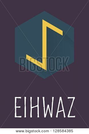 Eihwaz rune of Elder Futhark in trend flat style. Old Norse Scandinavian rune. Germanic letter. Vector illustration.