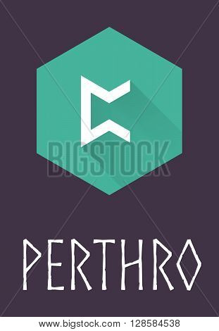 Perthro rune of Elder Futhark in trend flat style. Old Norse Scandinavian rune. Germanic letter. Vector illustration.
