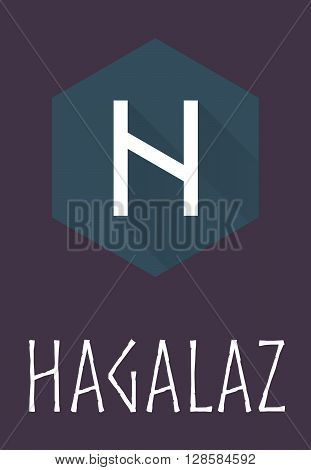 Hagalaz rune of Elder Futhark in trend flat style. Old Norse Scandinavian rune. Germanic letter. Vector illustration.