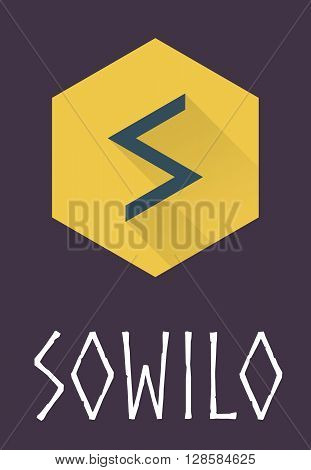 Sowilo rune of Elder Futhark in trend flat style. Old Norse Scandinavian rune. Germanic letter. Vector illustration.